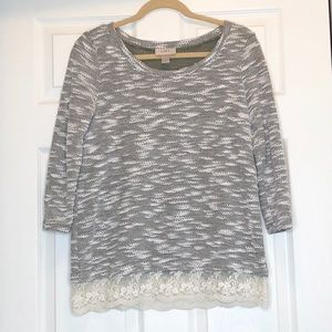 Loft Grey Lace Hem Top